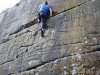 rob on unclimbed wall at harrisons on 60th birthday