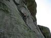 dave on the classic pedestal route at the roaches